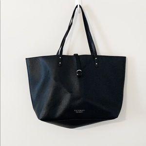 Victoria's Secret black faux leather tote bag